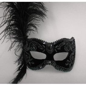 Mascara Julieta Preta Luxo Gala Bordado Festa Plumas