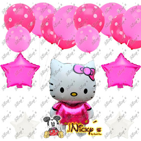37 Globos Hello Kitty Polka Dots Latex Estrellas Globo