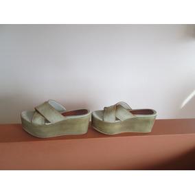 Sandalias Zuecos Mujer Marca Xl N° 36 Beige Buen Estado