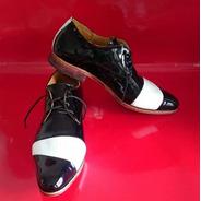 Zapatos De Hombres De Vestir Charol Cuero Negro Y Blanco