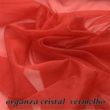 Tecido Organza Cristal Liso Vermelho - Peça Com 16 Metros