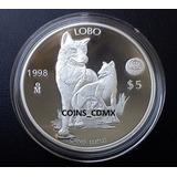 Moneda Lobo Mexicano 1998 $5 Banxico Pedestal Certificado