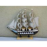 Barco De Madera Fragata Velas De Tela 23x23 Envio Gratis Cap
