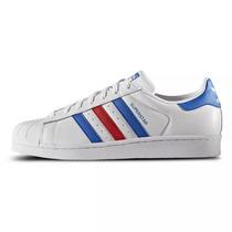 Zapatillas Adidas Superstar 2 Mod Blancas Azul Y Rojo Mujer