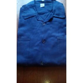 Camisa De Drill Azul Marino, Manga Larga Para Caballero