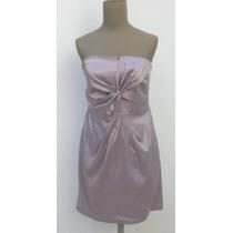 Vestido Mini Strapless Raso Gris Plata Fiestas Casamientos
