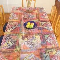 Toalha De Mesa Bordada Com Renda De Filé 8 Cadeiras