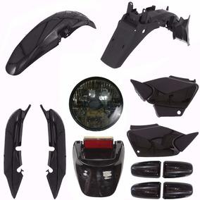 Kit Carenagem Plastico Farol Fume Cg 125 Titan Fan 125 Preto