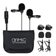 Microfono Corbatero Doble Arimic 6m Celular + Cámara +comput
