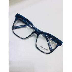 b2a3a28d1014a Óculos De Grau Chanel Tart Azul Com Preto Quadrado -cn704. R  134 90