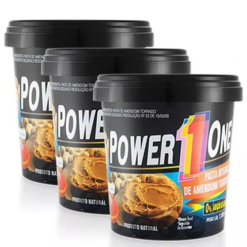 Kit 3 X Pasta De Amendoim 1kg - 100% Integral - Power One