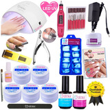 Kit Unhas Gel Acrigel Lixa Eletrica Cabine Uv Led 24w N1