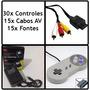 Kit Snes - 30 Controles + 15 Fontes Bivolt + 15 Cabos Av