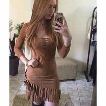 Vestido Suede Com Franjas - Frete Grátis
