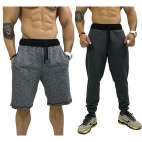 1 Bermuda Moletom + 1 Calça Moletom Shorts Swag Slim Fit