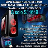 Cpu Gamer Core I3 8100 8gb Ram 1tb Hdd
