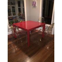 Mesa De Jogos Em Laca Vermelha Com Tampo De Vidro 1,10x1,10