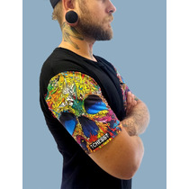 Camiseta Bolso Caveira Psicodélica Blusa Regata Skate Rock