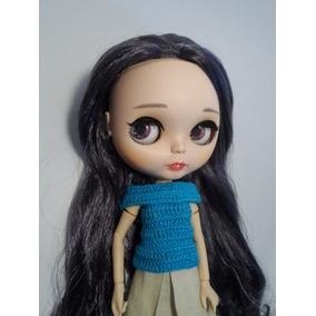 Blusa Bonecas Blythe,pullip,dal E Icy Crochê Azul Turquesa