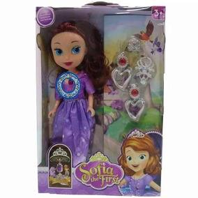 Boneca Princesa Sofia Musical Com Coroa Brinco E Colar 25cm