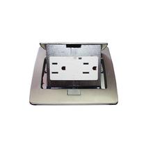 Mini Caja D Piso Rectangular En Acero Inoxidable 2 Contactos