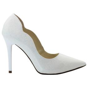 cf2c67a867 Sapatos Femininos Scarpin Curva Branco Salto Médio - Sapatos no ...