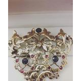 Prendedor Victoriano Muy Antiguo Oro Zafiros Rubies Diamante