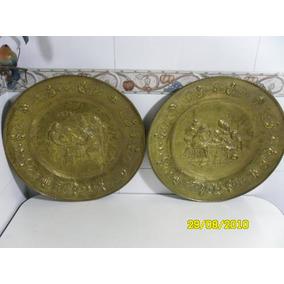 Plato De Bronce 50cm Diam - Coleccionistas Y Antiguedades