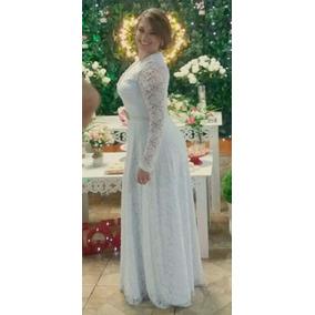 Vestido Noiva Longo Tule Renda Bordado Com Pérolas Plus Size