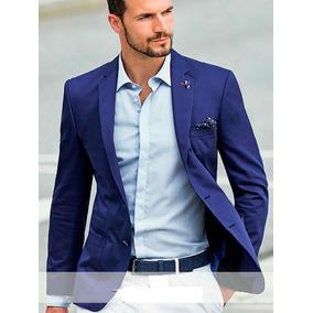 Saco Recto 2 Botones Azul Hombre Moda Casual Formal Boda
