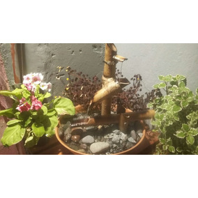 fuente de agua zen cascada bamb piedras luz y movimiento