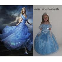 Vestido Festa Fantasia Princesa Cinderela + Luva + Coroa +