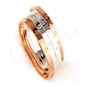 28453e82757a Cartier Love Silver Diamond Brazalete Para Dama 100% Acero ...