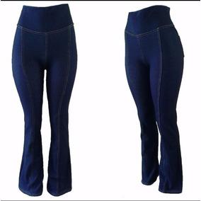 Calça Flare Imita Jeans Tecido Grosso