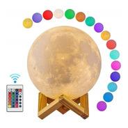 Velador Luna 10 Cm Rgb Control Remoto + Base Madera + Usb