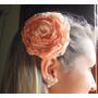 Flor Para Cabelo Salmão Tiara Grampo Tecido Flores Tiaras