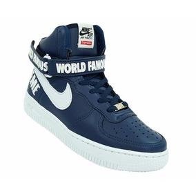 Bota Nike Air Force 1 Supreme Cano Alto Azul Marinho