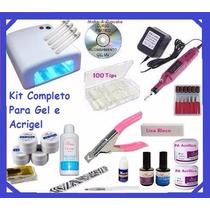 Kit Unha Gel Acrygel Dvd + Cabine + Lixa + Kit Gel Acrygel