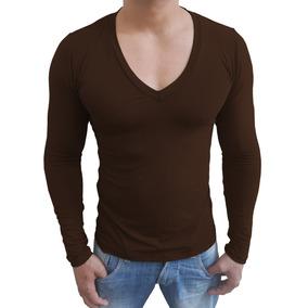 Camisa Gola V Funda Slim Masculina Blusa Viscolycra