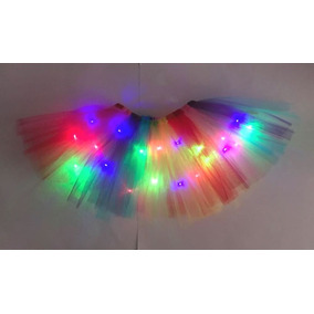 Falda Tutu D Tul Con Luces Led Multicolor Arcoiris Ballet
