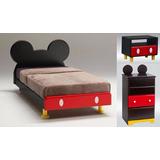 Cama 1.5 Niño De Melamina Mickey Mouse + Comoda + Velador