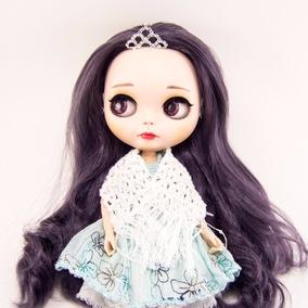 Xale Branco Crochê Algodão Blythe, Icy E +bonecas Paetê