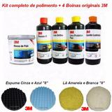 Kit Polimento Cristalização Completo + 4 Boinas Originais 3m