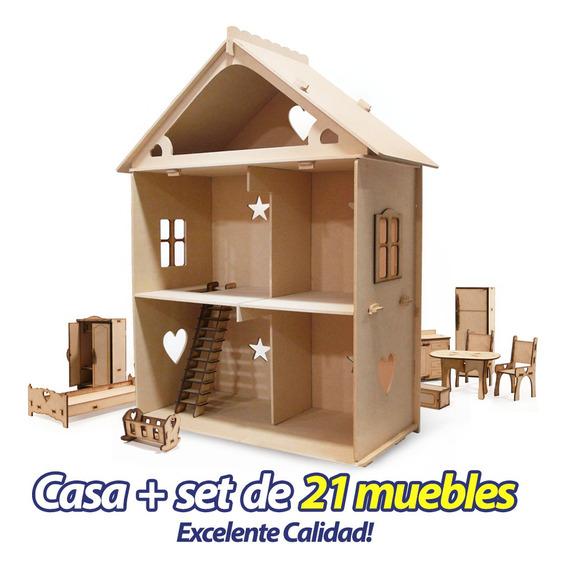 Casita De Mu?ecas + 21 Muebles Casa M2 - Envio Gratis !!