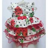 Vestido Infantil Branco De Bolinhas Pretas E Rosas Vermelhas