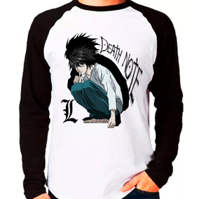 Camiseta Blusa Death Note L Anime Raglan Manga Longa C