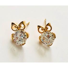 Aretes De Buho Oro 18k Zirconias Calidad Diamante.