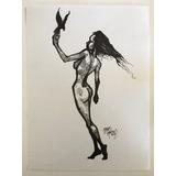 Dibujo Original Desnudo Femenino Tinta Artista Mexicano