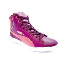 Zapatillas Botitas Puma Vikky Mid Cuero Mujer Violeta C/rosa