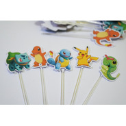 50 Tag Topper Aniversário  Pokemon